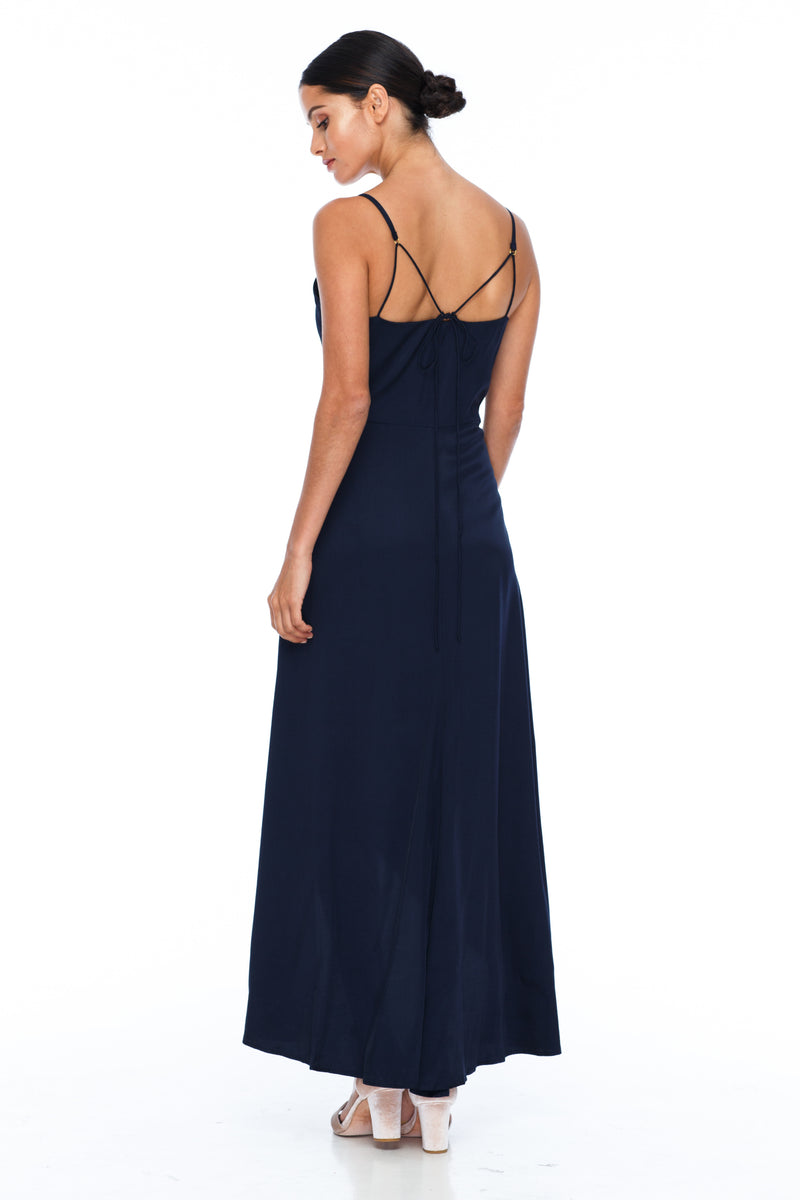 BLAK BRIDESMAIDS - Florence Dress - Navy - With a fitted bodice and flowy cross over skirt this style is flattering to all body shapes - 100% viscose - Back view