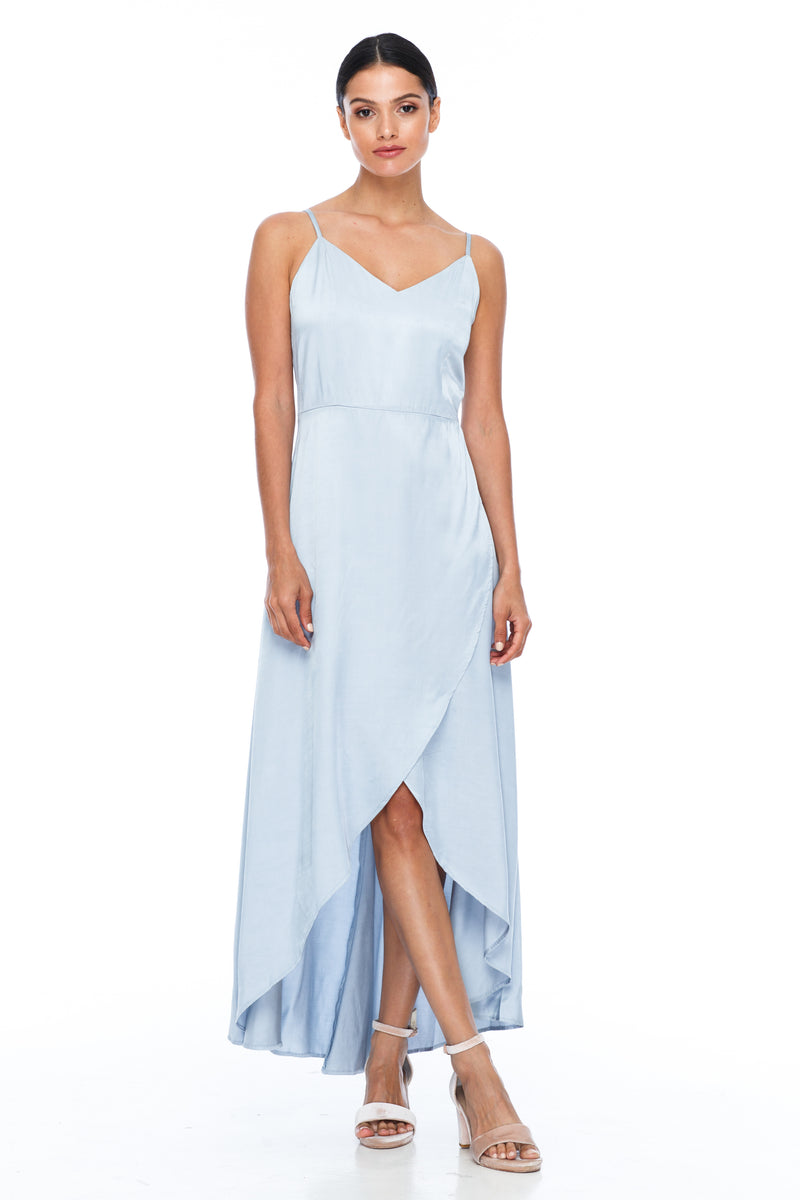 BLAK BRIDESMAIDS - Florence Dress - Becky Blue - With a fitted bodice and flowy cross over skirt this style is flattering to all body shapes - 100% viscose -  front view