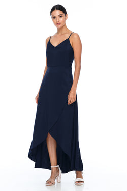 BLAK BRIDESMAIDS - Florence Dress - Navy - With a fitted bodice and flowy cross over skirt this style is flattering to all body shapes - 100% viscose - Image shows front view