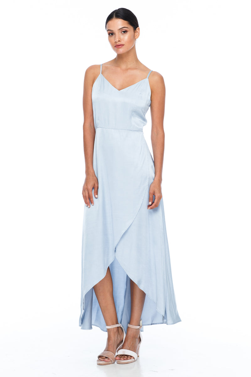 BLAK BRIDESMAIDS - Florence Dress - Becky Blue - With a fitted bodice and flowy cross over skirt this style is flattering to all body shapes - 100% viscose - Image shows front view