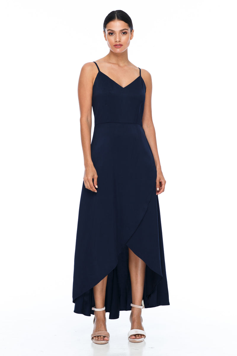 A BLAK BRIDESMAIDS Dress - Florence Dress - Navy - With a fitted bodice and flowy cross over skirt this style is flattering to all body shapes - 100% viscose - Front view