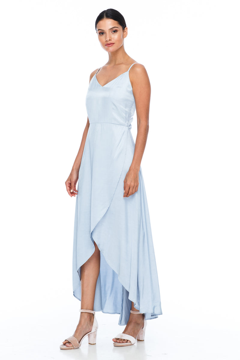BLAK BRIDESMAIDS - Florence Dress - Becky Blue - With a fitted bodice and flowy cross over skirt this style is flattering to all body shapes - 100% viscose - Image shows side view