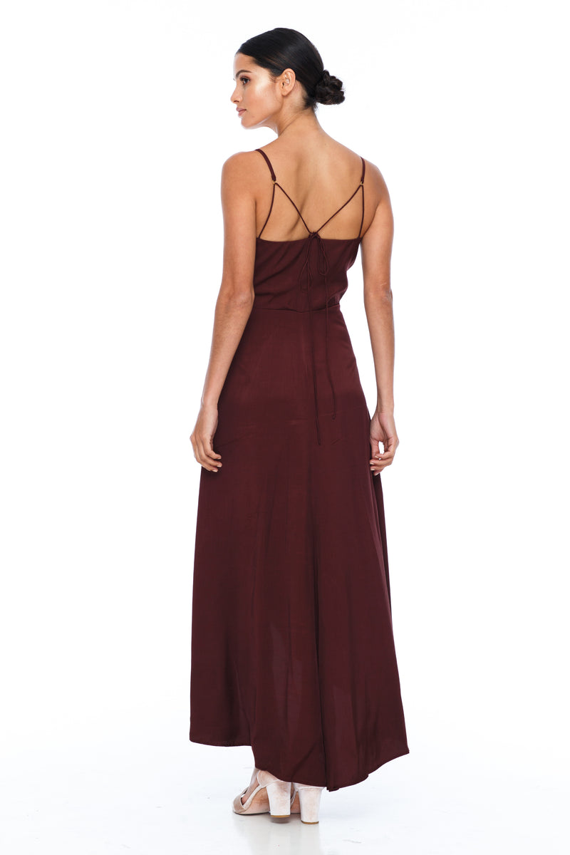 BLAK Bridesmaids Dress - Florence Dress - Cinnamon - With a fitted bodice and flowy cross over skirt this style is flattering to all body shapes - 100% viscose - Image shows back view