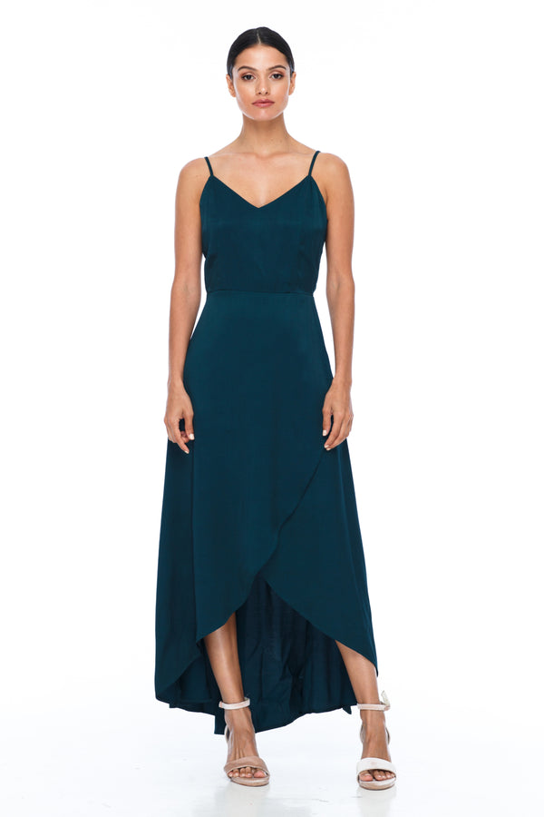 BLAK BRIDESMAIDS - Florence Dress - Emerald - With a fitted bodice and flowy cross over skirt this style is flattering to all body shapes - 100% viscose - Image shows front view