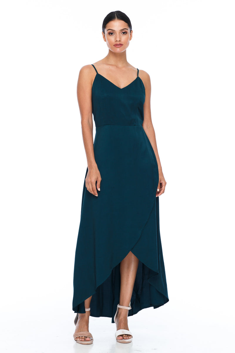 BLAK BRIDESMAIDS - Florence Dress - Emerald - With a fitted bodice and flowy cross over skirt this style is flattering to all body shapes - 100% viscose - Image shows side view