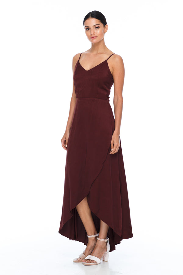 BLAK BRIDESMAIDS - Florence Dress - Cinnamon - With a fitted bodice and flowy cross over skirt this style is flattering to all body shapes - 100% viscose - Image shows front view