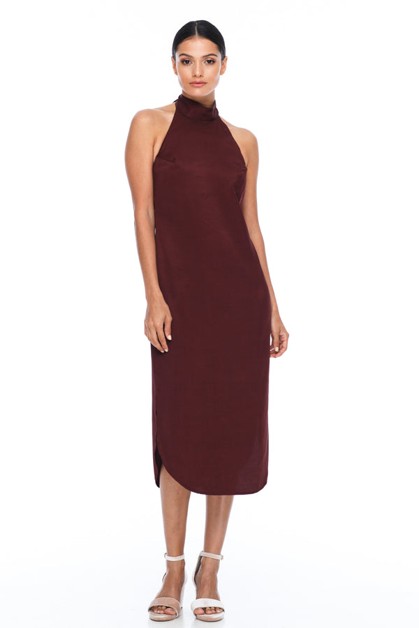A BLAK BRIDESMAID Dress   A stunning sophisticated silhouette. Featuring a high neckline, slimline body shape, mid length with curved side seams to flatter the figure. This is the Bridesmaids dress for your    - Keyhole back detail - Comes with optional skinny waist tie - 100% Viscose - Cinnamon - Front View