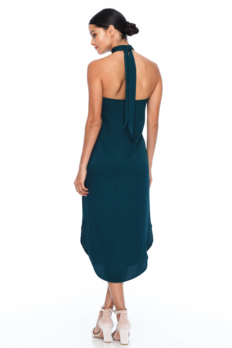A BLAK BRIDESMAID Dress   A stunning sophisticated silhouette. Featuring a high neckline, slimline body shape, mid length with curved side seams to flatter the figure. This is the Bridesmaids dress for your    - Keyhole back detail - Comes with optional skinny waist tie - 100% Viscose - Emerald - Back View