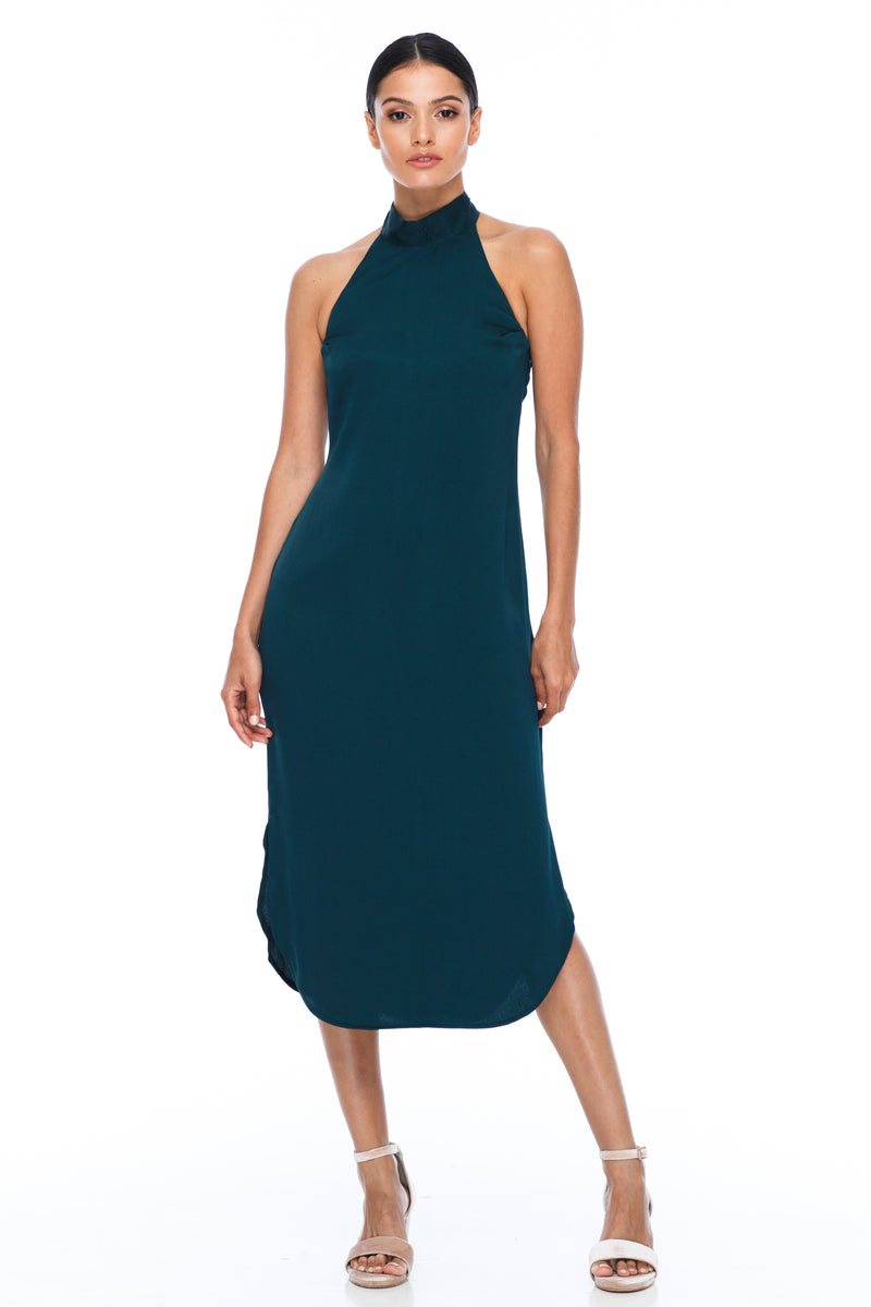 A BLAK BRIDESMAID Dress   A stunning sophisticated silhouette. Featuring a high neckline, slimline body shape, mid length with curved side seams to flatter the figure. This is the Bridesmaids dress for your    - Keyhole back detail - Comes with optional skinny waist tie - 100% Viscose - Emerald - Front View