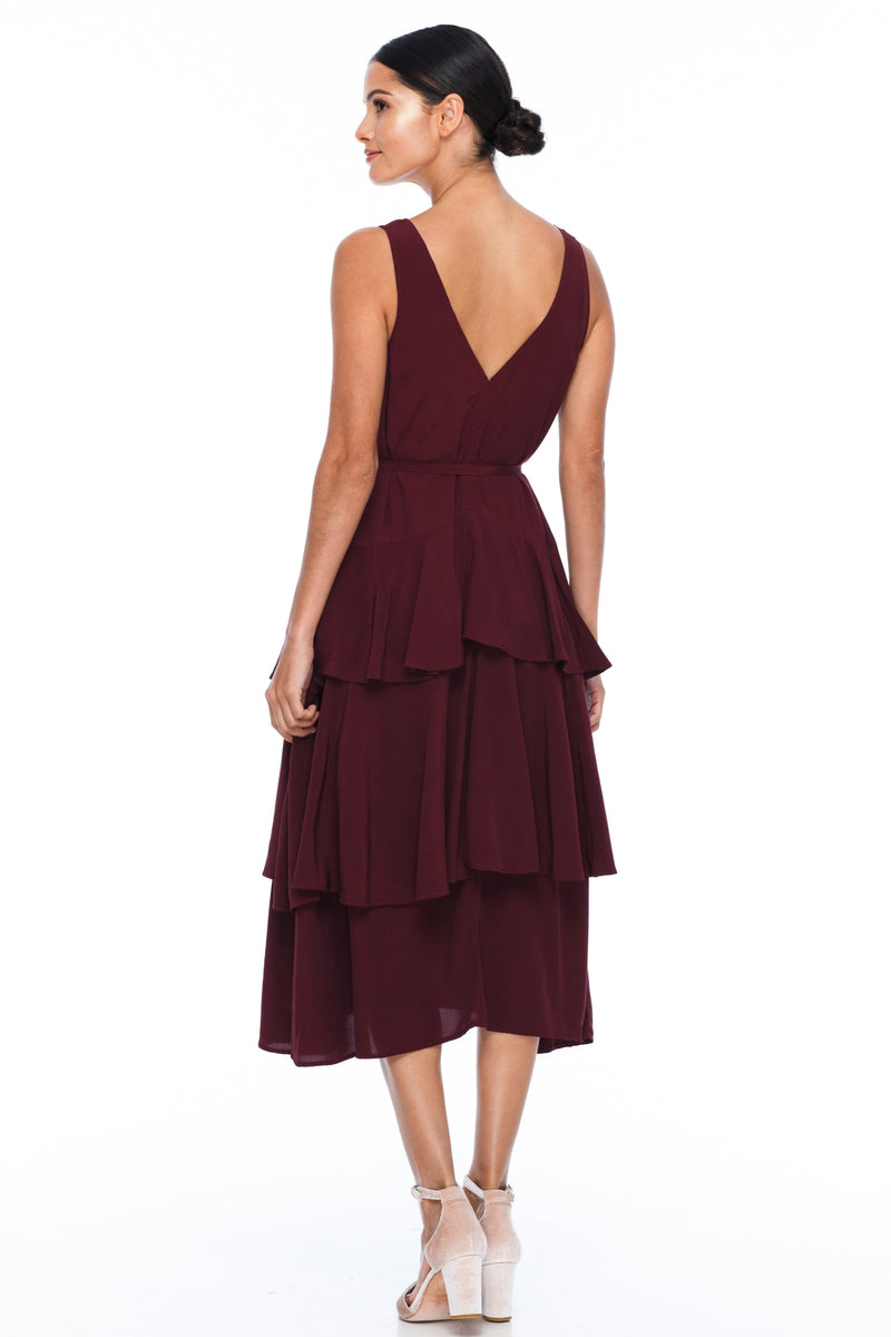 A Blak Bridesmaid Dress - The Frida - Cinnamon - A flowy layered skirt a low v-neckline front and back - Midi Length - Image shows back view