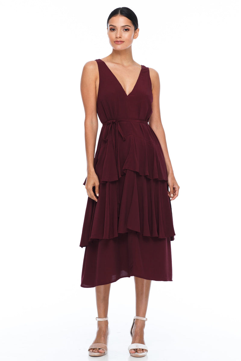 A Blak Bridesmaid Dress - The Frida - Cinnamon - A flowy layered skirt a low v-neckline front and back - Midi Length - Image shows front view