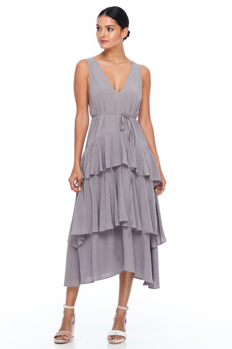 A BLAK Bridesmaid Dress - Frida Dress - Colour - Pewter - A flowy layered skirt a low v-neckline front and back - Midi Length - Image shows front view