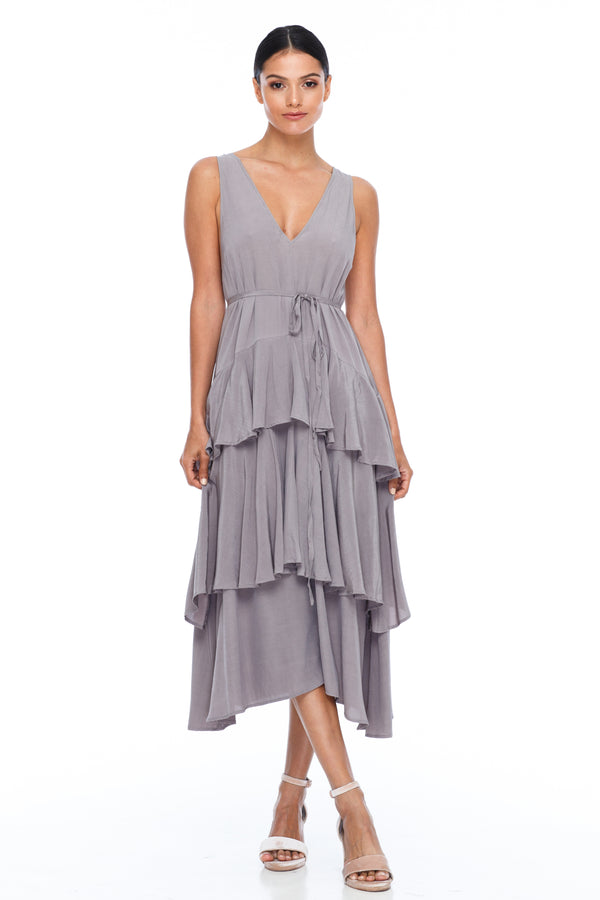 BLAK BRIDESMAIDS - Frida Dress - Pewter - A flowy layered skirt a low v-neckline front and back - Midi Length - Image shows front view