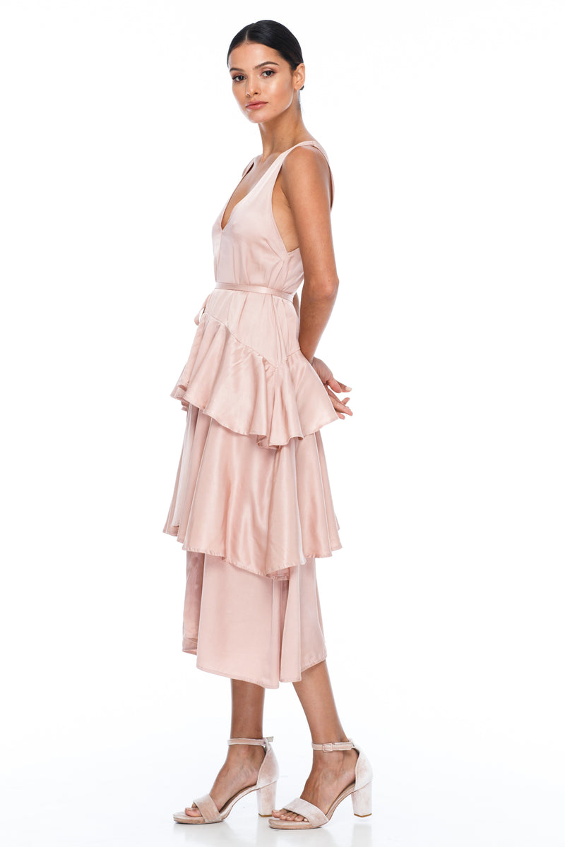 BLAK BRIDESMAIDS - Frida Dress - Rose - A flowy layered skirt a low v-neckline front and back - Midi Length - Side view of Dress
