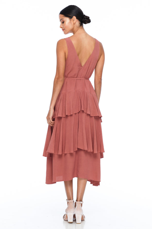 BLAK BRIDESMAIDS - Frida Dress - Becca Pink - A flowy layered skirt a low v-neckline front and back - Midi Length - Image shows back view