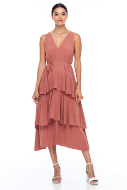BLAK BRIDESMAIDS - Frida Dress - Becca Pink - A flowy layered skirt a low v-neckline front and back - Midi Length - Image shows front view