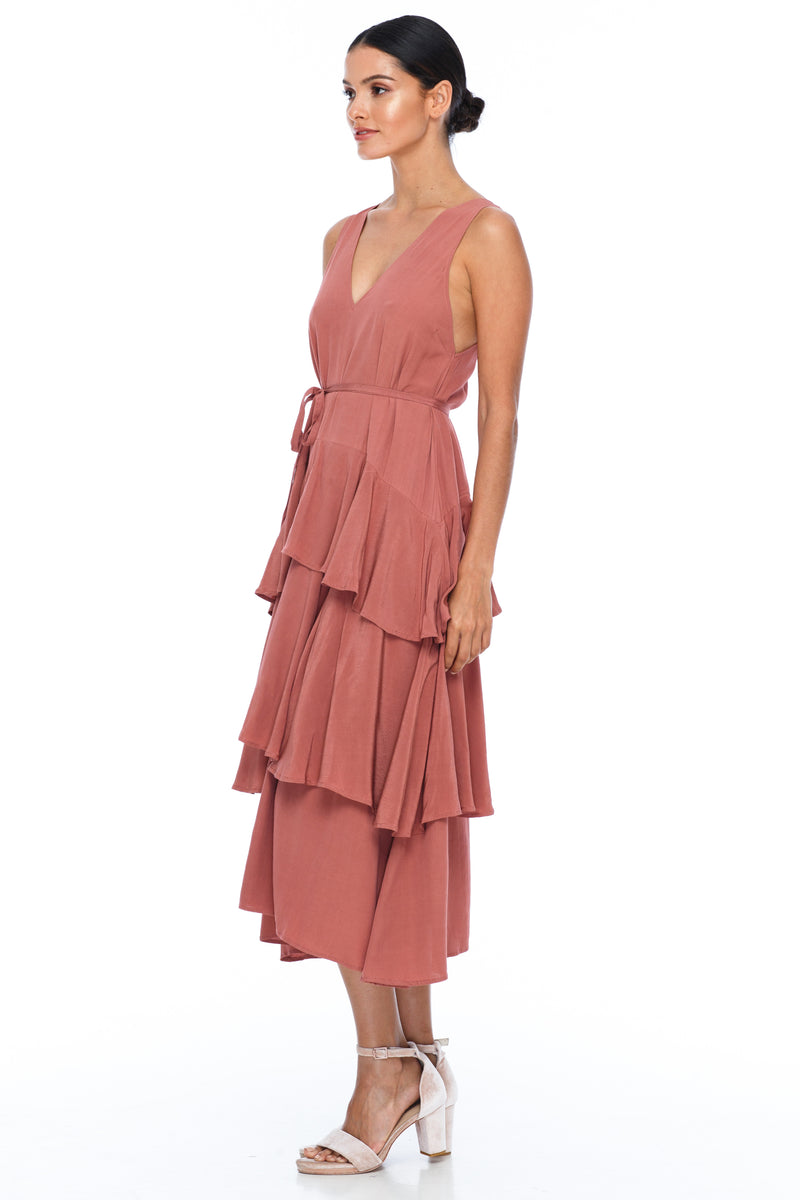 BLAK BRIDESMAIDS - Frida Dress - Becca Pink - A flowy layered skirt a low v-neckline front and back - Midi Length - Image shows side view