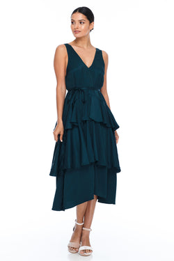 BLAK BRIDESMAIDS - Frida Dress - Emerald - A flowy layered skirt a low v-neckline front and back - Midi Length - Image shows front view