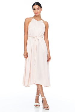 A Blak Bridesmaids Dress - The Haven is a beautiful classic elegant shape - High neckline, a-line body, with side splits - Our Most Popular Dress! Alyssa Nude