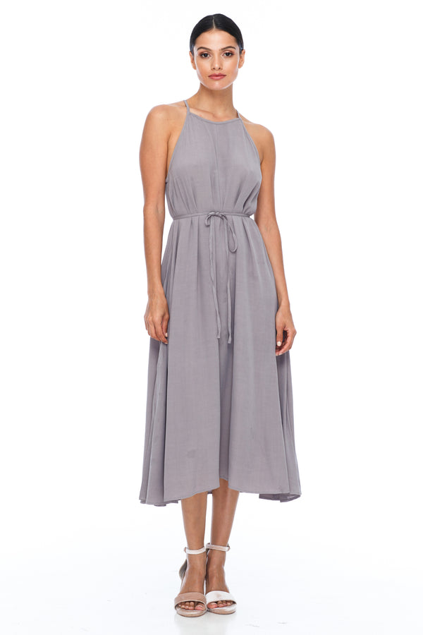 A Blak Bridesmaids Dress - The Haven is a beautiful classic elegant shape - High neckline, a-line body, with side splits - Image shows Front View - Pewter - Our Most Popular Bridesmaids Dress!