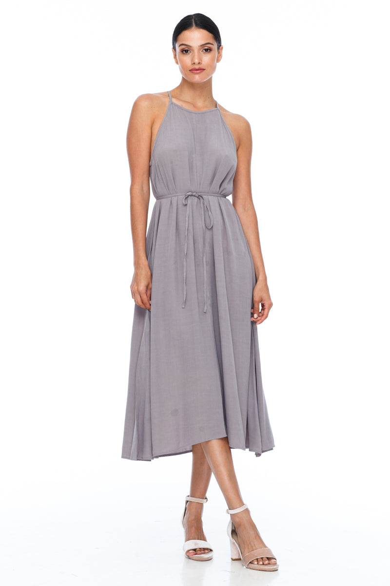 A Blak Bridesmaids Dress - The Haven is a beautiful classic elegant shape - High neckline, a-line body, with side splits - Image shows Front View - Pewter