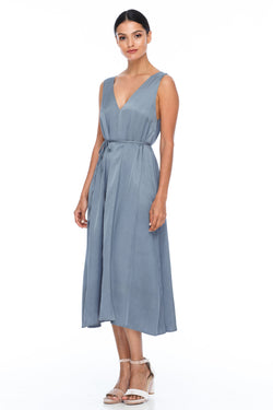 BLAK BRIDESMAIDS -  Calm Dress - Stone - Featuring a low v-neckline front and back with wider straps. An easy fit dress with self-waist tie.  Midi Length / 100% viscose.