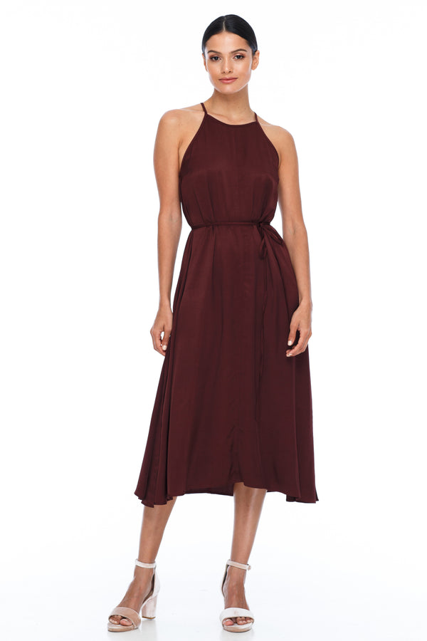 A Blak Bridesmaids Dress - The Haven is a beautiful classic elegant shape - High neckline, a-line body, with side splits - Image shows Front View - Cinnamon