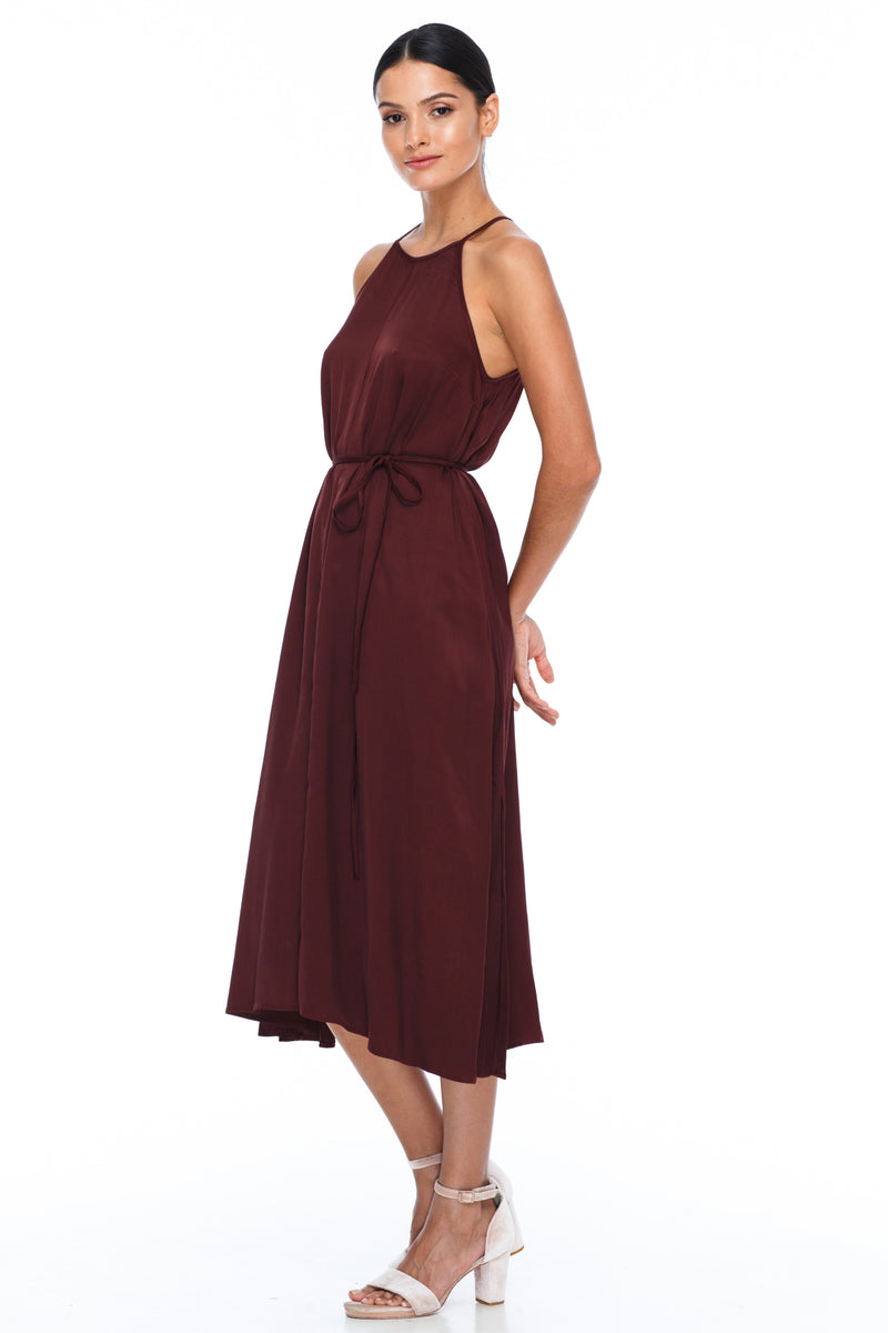 A Blak Bridesmaids Dress - The Haven is a beautiful classic elegant shape - High neckline, a-line body, with side splits - Side View - Cinnamon