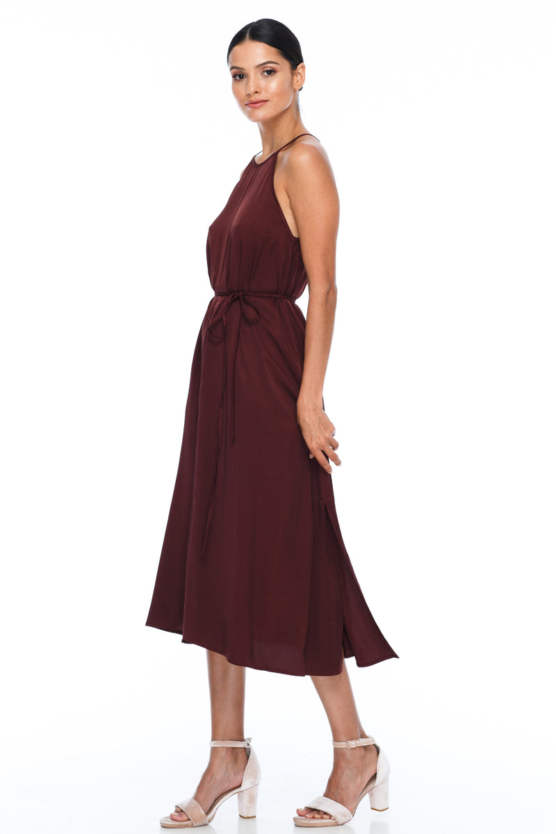 A Blak Bridesmaids Dress - The Haven is a beautiful classic elegant shape - High neckline, a-line body, with side splits - Image shows side View - colour - Cinnamon