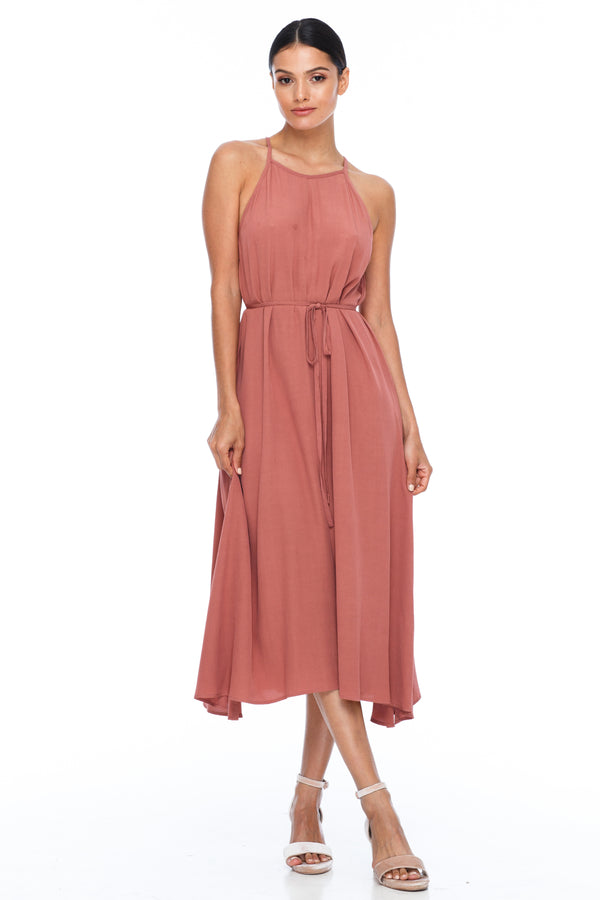 A Blak Bridesmaids Dress - The Haven is a beautiful classic elegant shape - High neckline, a-line body, with side splits - Image shows Front View - becca pink