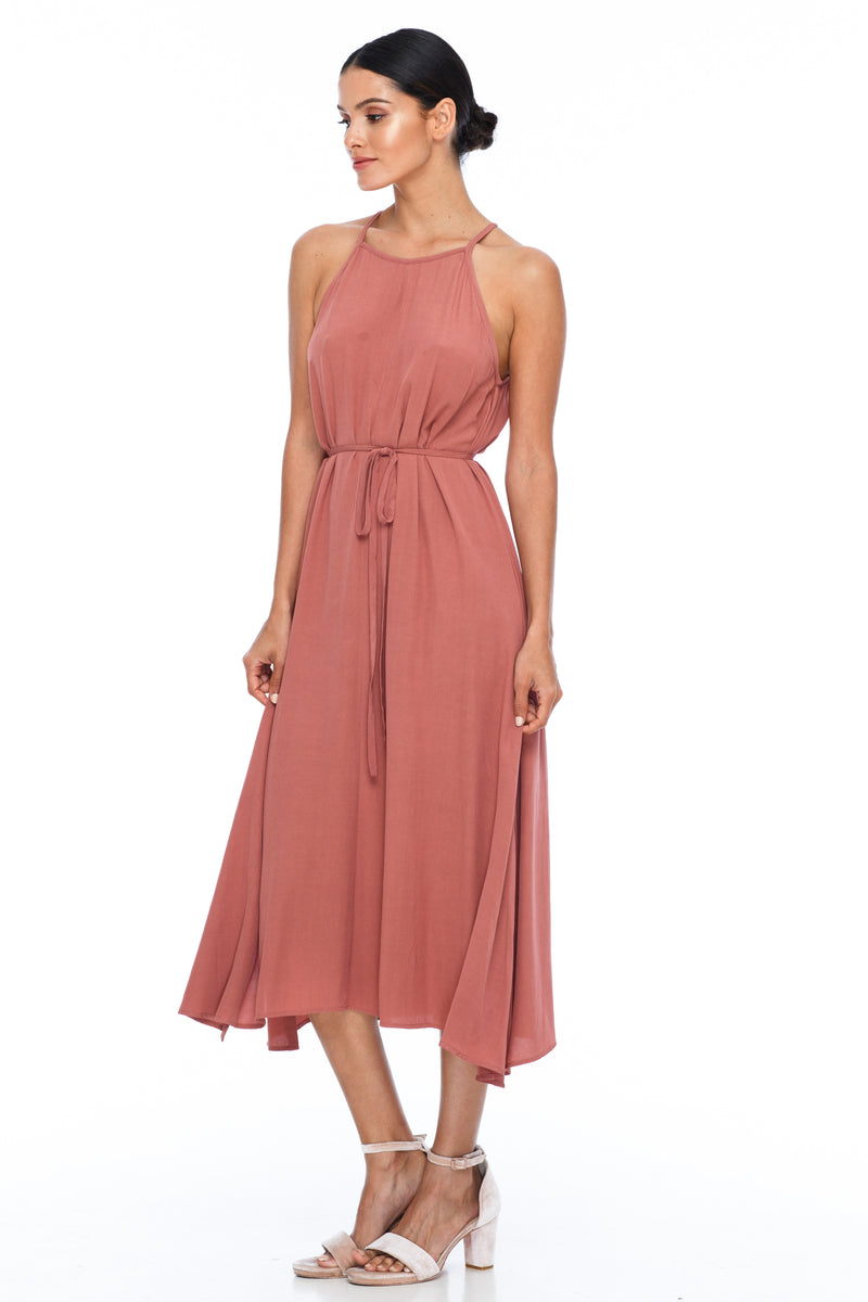 A Blak Bridesmaids Dress - The Haven is a beautiful classic elegant shape - High neckline, a-line body, with side splits - Image shows Side View - becca pink