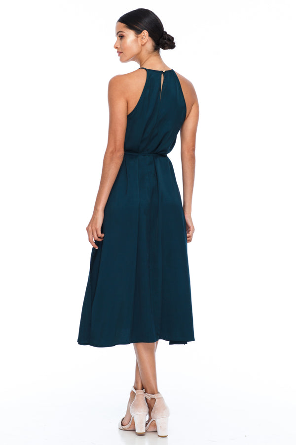 A Blak Bridesmaids Dress - The Haven is a beautiful classic elegant shape - High neckline, a-line body, with side splits - Image shows back View