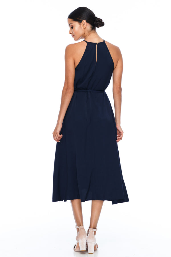 A Blak Bridesmaids Dress - The Haven is a beautiful classic elegant shape - High neckline, a-line body, with side splits - Image shows back View - Navy