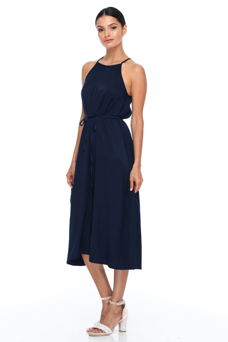 A Blak Bridesmaids Dress - The Haven is a beautiful classic elegant shape - High neckline, a-line body, with side splits - Image shows Front View - navy