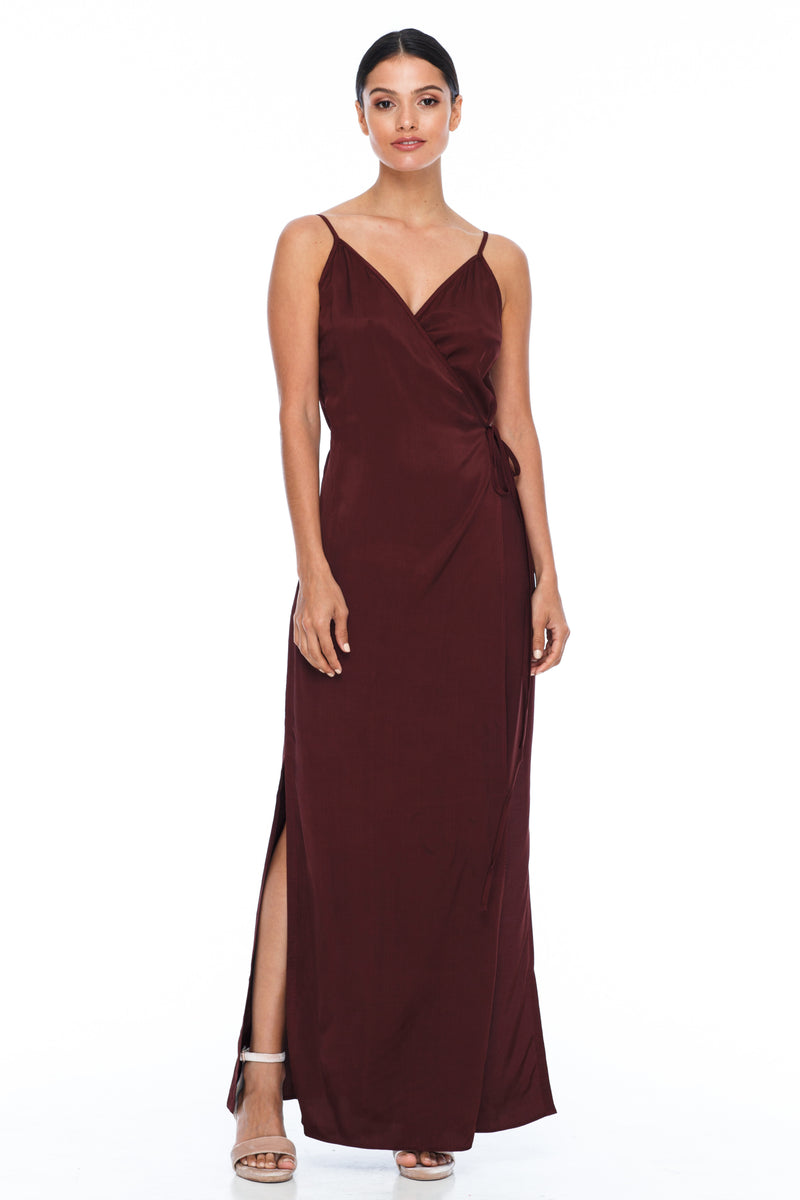 A Blak Bridesmaid Dress - The Ivy is a beautiful elegant Bridesmaids Option - Slimline full length fit with side splits and wrap finish - Colour - Cinnamon - Front View