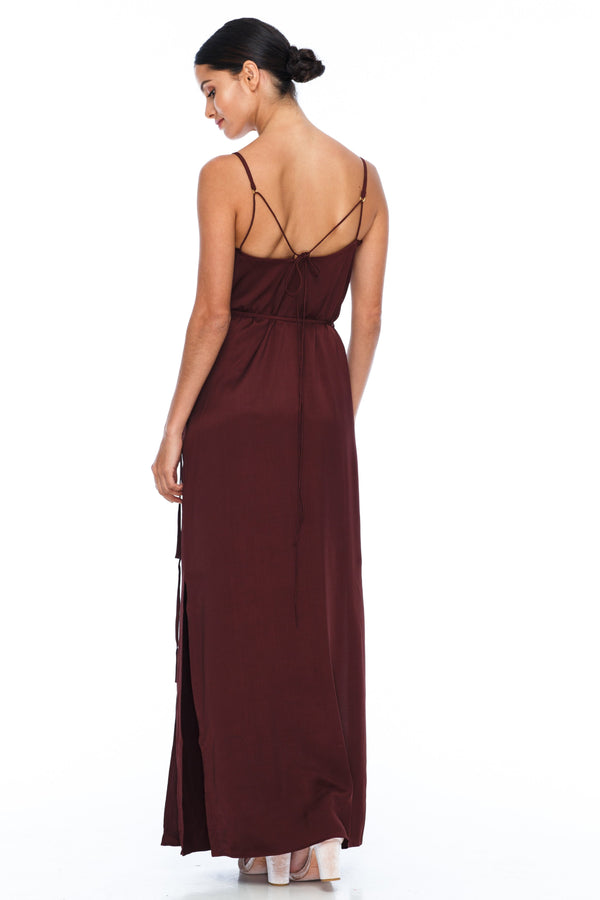 A Blak Bridesmaid Dress - The Ivy is a beautiful elegant Bridesmaids Option - Slimline full length fit with side splits and wrap finish - Colour - Cinnamon - back View