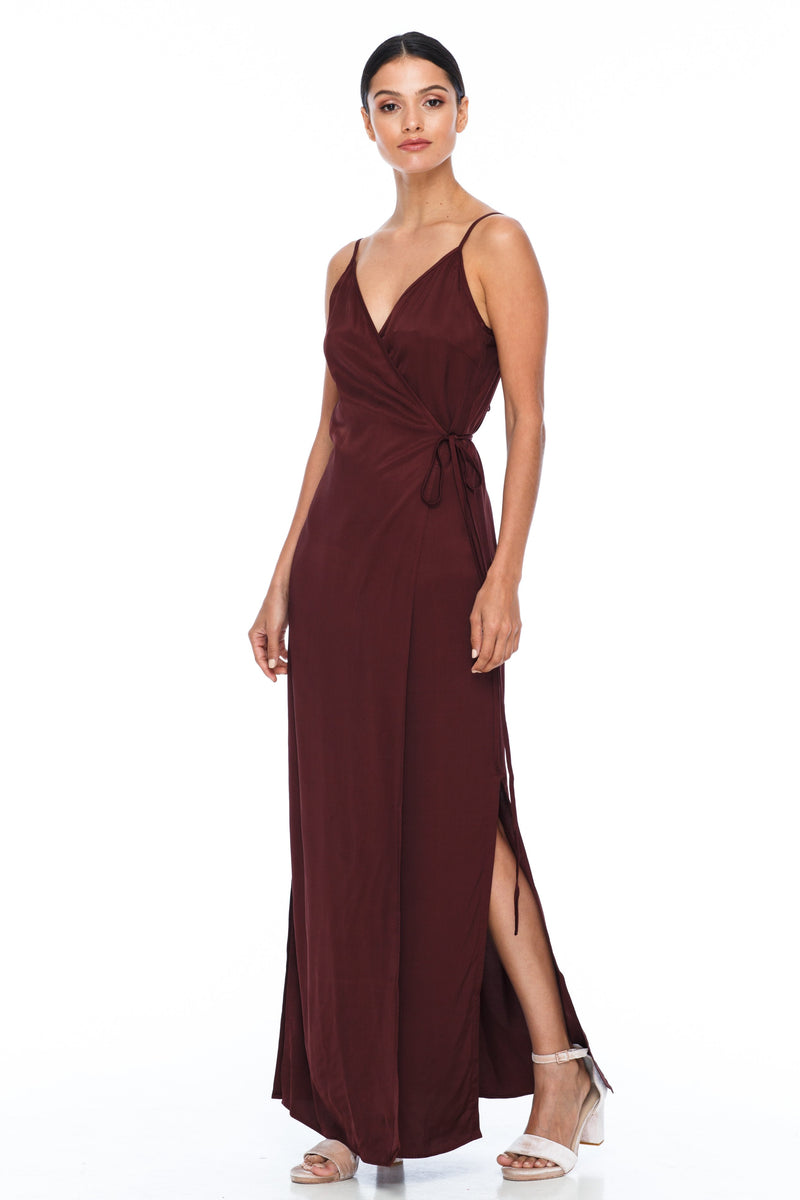 A Blak Bridesmaid Dress - The Ivy is a beautiful elegant Bridesmaids Option - Slimline full length fit with side splits and wrap finish - Colour - Cinnamon - Side View