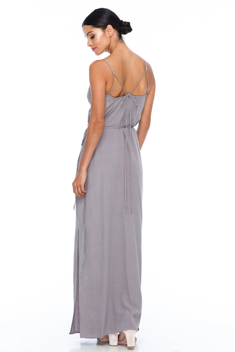 A Blak Bridesmaid Dress - The Ivy is a beautiful elegant Bridesmaids Option - Slimline full length fit with side splits and wrap finish - Colour - Pewter - Back