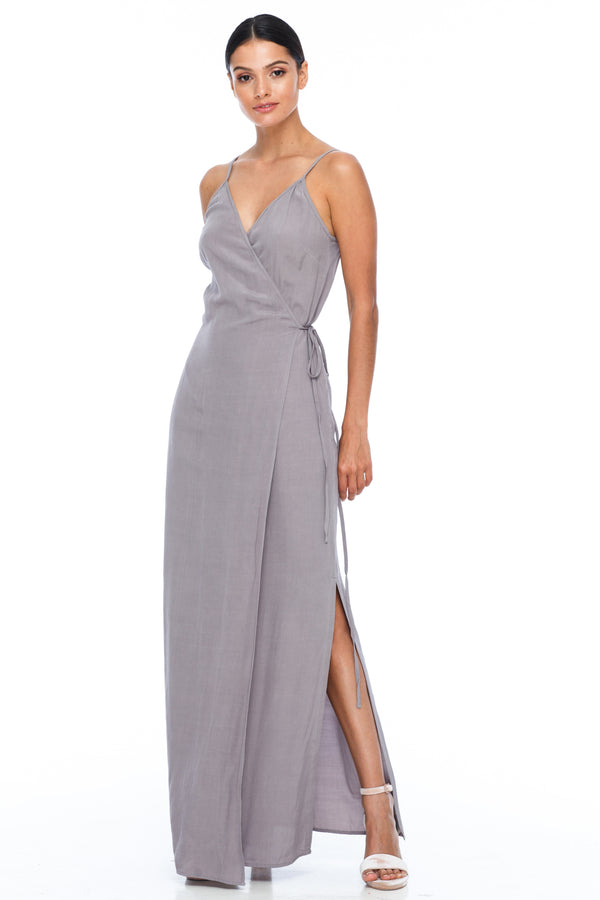 A Blak Bridesmaid Dress - The Ivy is a beautiful elegant Bridesmaids Option - Slimline full length fit with side splits and wrap finish - Colour - Pewter - Front View