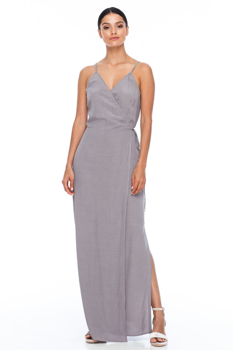 A Blak Bridesmaid Dress - The Ivy is a beautiful elegant Bridesmaids Option - Slimline full length fit with side splits and wrap finish - Colour - Pewter - Front