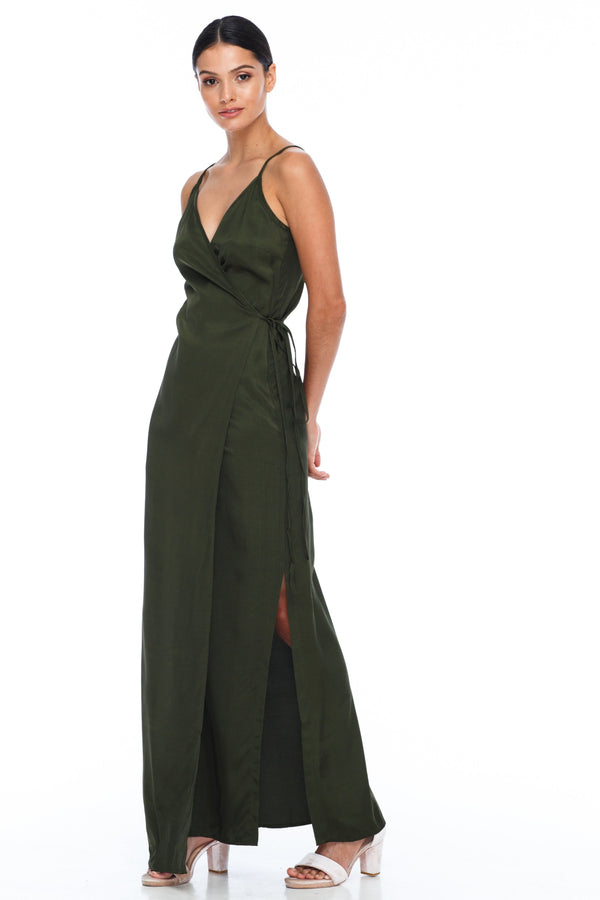 A Blak Bridesmaid Dress - The Ivy is a beautiful elegant Bridesmaids Option - Slimline fulll lenght fit with side splits and wrap finish - Colour - Holland Khaki - Side View