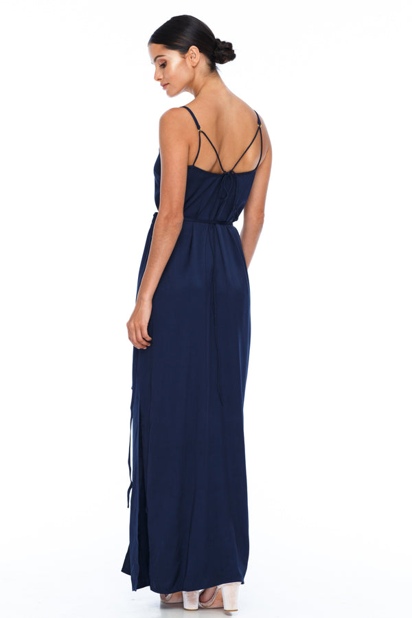 A Blak Bridesmaid Dress - The Ivy is a beautiful elegant Bridesmaids Option - Slimline full length fit with side splits and wrap finish - Colour - Navy - Back View