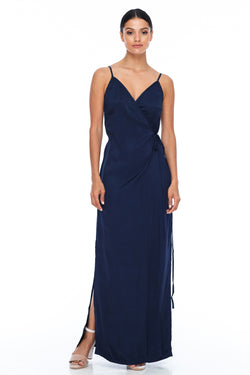 A Blak Bridesmaid Dress - The Ivy is a beautiful elegant Bridesmaids Option - Slimline full length fit with side splits and wrap finish - Colour - Navy - Front Vi