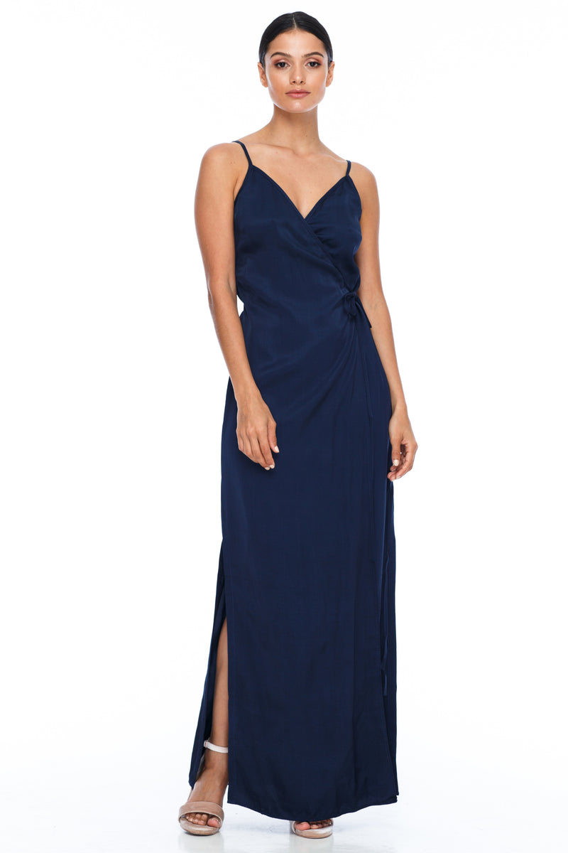 A Blak Bridesmaid Dress - The Ivy is a beautiful elegant Bridesmaids Option - Slimline full length fit with side splits and wrap finish - Colour - Navy - Front