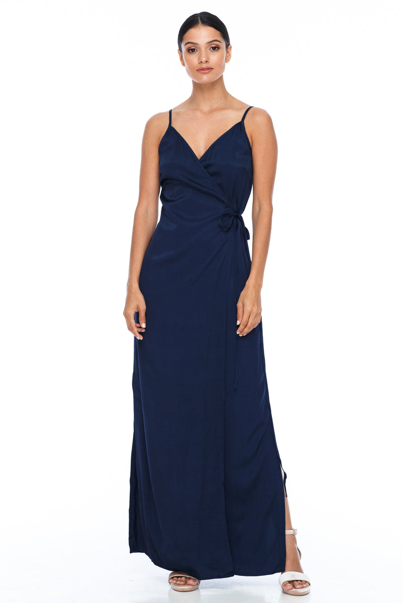 A Blak Bridesmaid Dress - The Ivy is a beautiful elegant Bridesmaids Option - Slimline full length fit with side splits and wrap finish - Colour - Navy - Front View