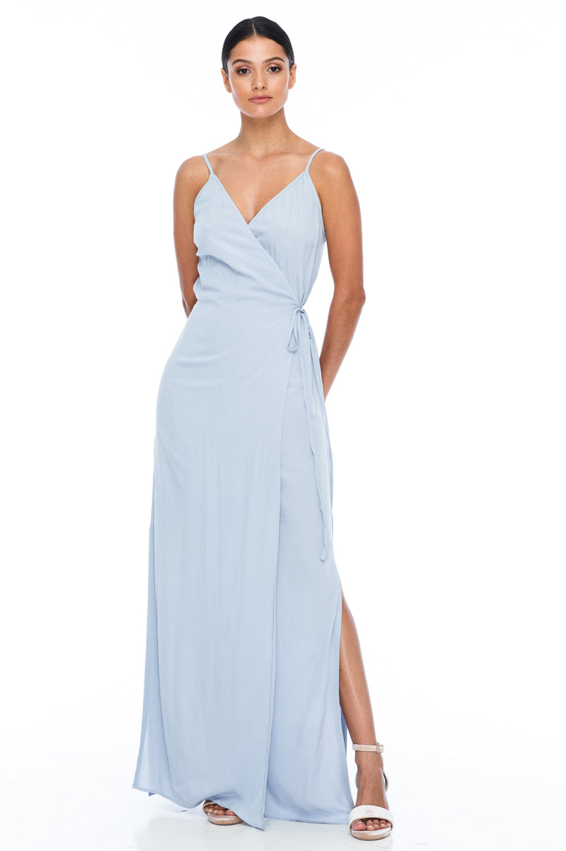 A Blak Bridesmaid Dress - The Ivy is a beautiful elegant Bridesmaids Option - Slimline full length fit with side splits and wrap finish - Colour - Becky Blue - Front View