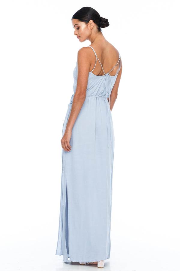 A Blak Bridesmaid Dress - The Ivy is a beautiful elegant Bridesmaids Option - Slimline full length fit with side splits and wrap finish - Colour - Becky Blue - Back View