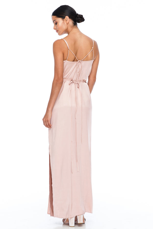 A Blak Bridesmaid Dress - The Ivy is a beautiful elegant Bridesmaids Option - Slimline full length fit with side splits and wrap finish - Colour - Rose - back View