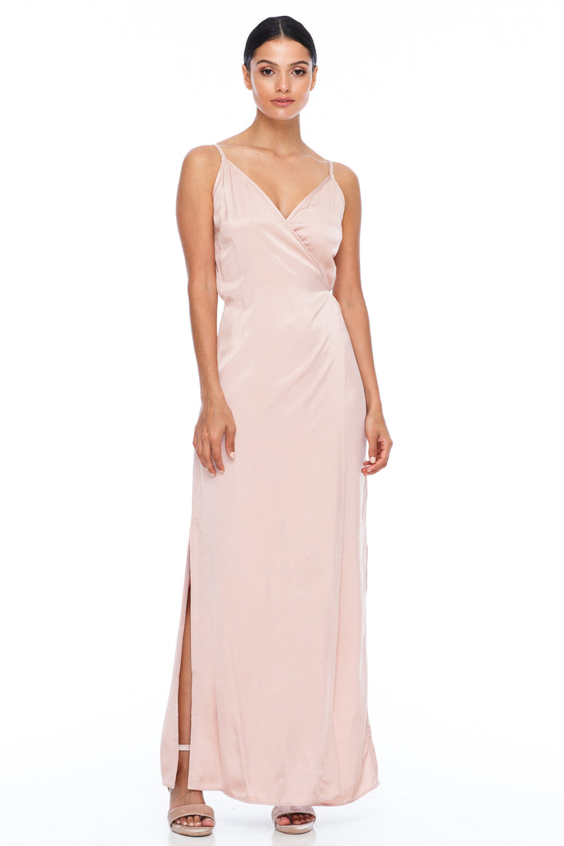 A Blak Bridesmaid Dress - The Ivy is a beautiful elegant Bridesmaids Option - Slimline full length fit with side splits and wrap finish - Colour - Rose - Front View