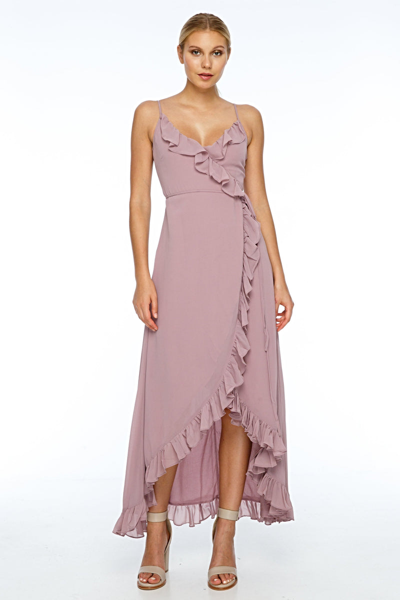 A beautiful wrap bridesmaid dress with stunning frill detailing all the way around for maximum impact in your wedding photos.  Dainty adjustable back strap/tie. Wrap Full length back, midi length front 100% viscose Being a wrap style is it the perfect dress for your bridesmaids who are overseas and can't make it in for a fitting - Front View